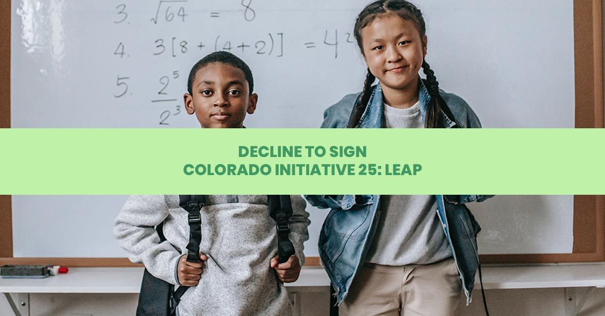 Ten Reasons to Decline to Sign Colorado Initiative 25 LEAP facebook